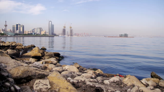 Embankment-of-Baku-Azerbaijan-The-Caspian-Sea-Stones-and-Skyscrapers
