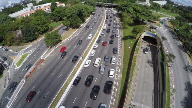 Vista-aérea-de-23-de-Maio-Avenue-en-Sao-Paulo,-Brasil