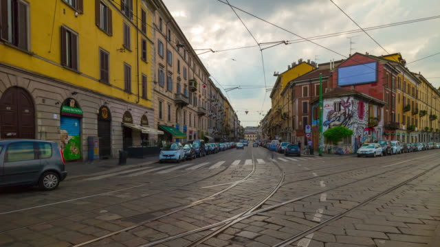 Italy-day-light-milan-city-famous-canal-bay-traffic-street-panorama-4k-timelapse