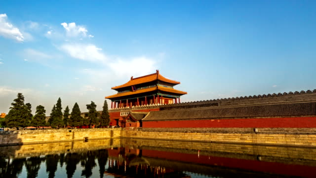 Different-view-to-the-back-entrance-of-the-Palace-Museum-at-sunset-Beijing-China