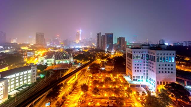 Vídeos-en-alta-definición-Escena-de-la-noche-Horizonte-de-la-ciudad-de-Kuala-Lumpur-Lapso-de-tiempo-
