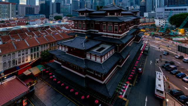 4K-time-lapse-:-night-to-day-time-lapse-with-traffic-at-Buddha-Tooth-Relic-Temple