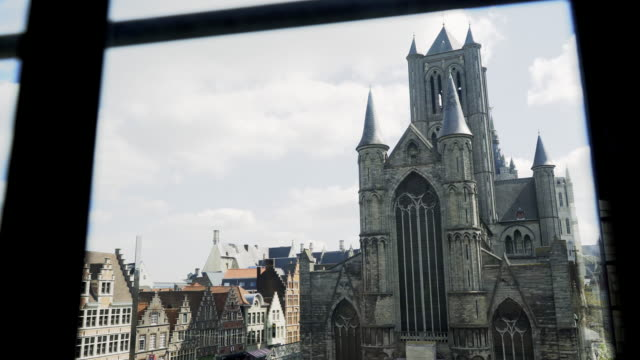 High-top-view-of-central-square-in-Ghent