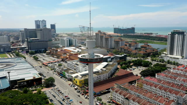 Aerial-view-of-Malacca-cityscape-with-Taming-Sari-Tower-at-daytime