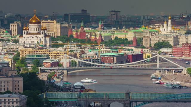Rusia-día-soleado-Moscú-río-ciudad-techo-superior-panorama-4k-lapso-de-tiempo