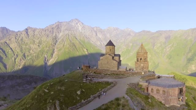 aerial-Gergeti-orthodox-church-high-in-the-mountains-Georgia