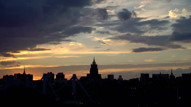 Beautiful-sunset-to-night-transition-over-city-of-Moscow-downtown-skyline-Night-city-skyline-sunset-Silhouette-of-Ministry-of-Foreign-Affairs-famous-seven-sisters