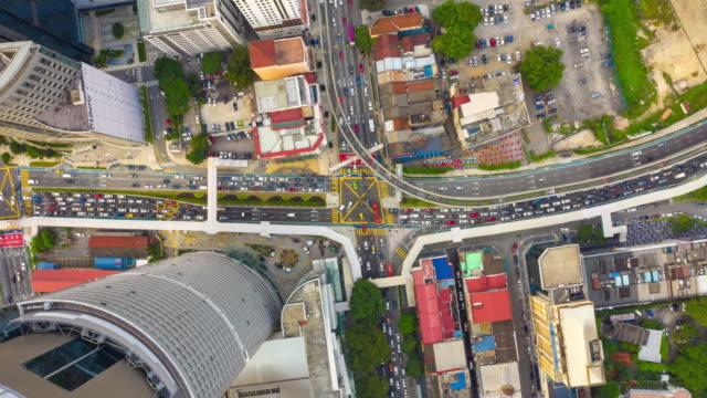 Kuala-Lumpur-Stadtverkehrs-Straße-aerial-Panorama-Zeitraffer-4k-Malaysia
