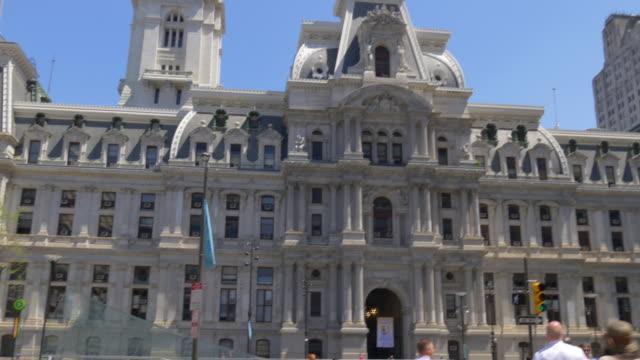 Estados-Unidos-Filadelfia-ciudad-día-de-verano-ciudad-sala-de-Plaza-panorama-4-k-Pensilvania
