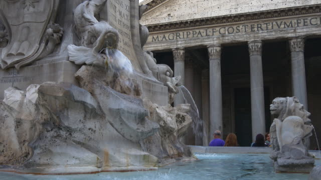 Panteón-de-Italia-Roma-ciudad-atardecer-famoso-atestado-panorama-de-fuente-4k