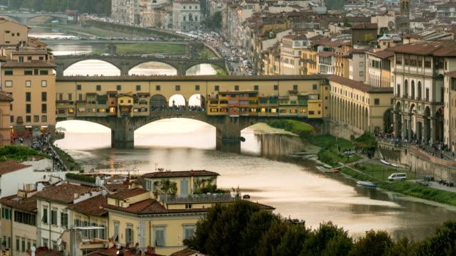 Lapso-de-tiempo-de-Florencia-Ponte-Vecchio-puente-Italia