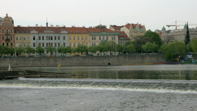 View-of-Prague-cityscape-moving-along-the-Vltava-river-on-boat-Czech-Republic