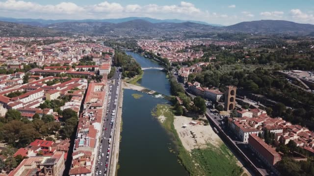 Aerial-drone-footage-video---panoramic-view-of-Florence