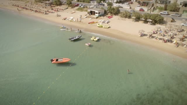 Aerial-view-of-a-small-water-sports-center-on-a-beach-in-Greece-