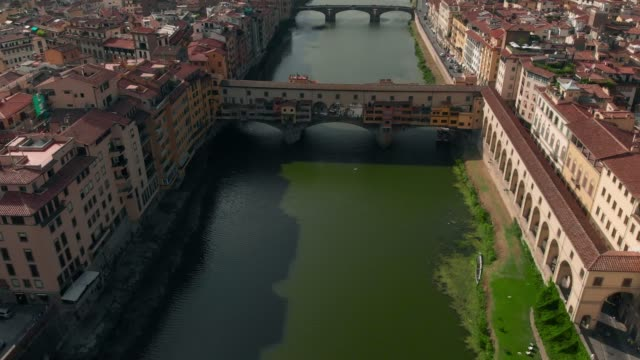 Aerial-View-of-Florence-Italy-The-Ponte-Vecchio-Old-Bridge-Arno-River-4K
