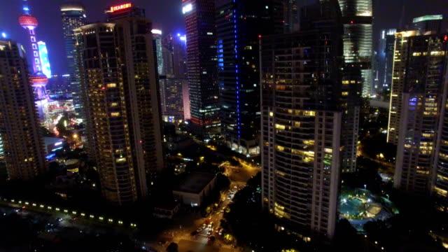 AERIAL-shot-of-Shanghai-cityscape-and-skyline-at-night/Shanghai-China