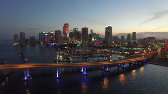 Aerial-drone-video-of-Downtown-Miami-at-dusk