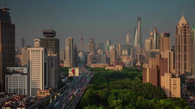 puesta-de-sol-en-la-azotea-panorámica-4-tiempo-k-caer-de-Shangai