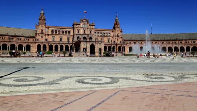 Sevilla-España---la-famosa-Plaza-de-España-Antiguo-punto-de-referencia-