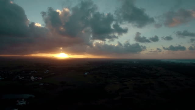 Scenic-aerial-view-of-sunset-in-Mauritius