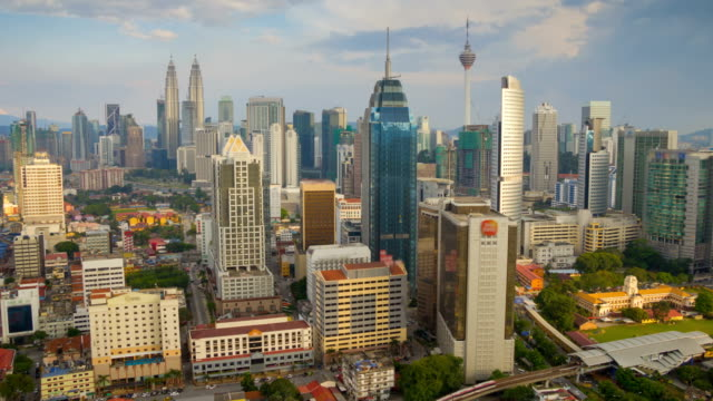 Day--timelapse-from-high-vantage-point-overlooking-Kuala-Lumpur-cityscapes