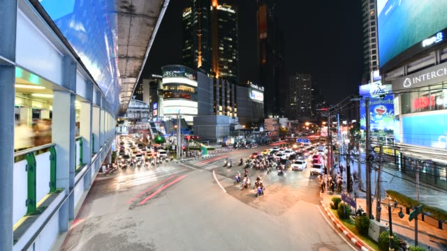 Timelapse-view-traffic-of-Asoke-intersection-Bangkok