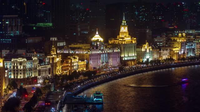 luz-de-noche-de-Shangai-tráfico-panorama-Bahía-4k-lapso-de-tiempo