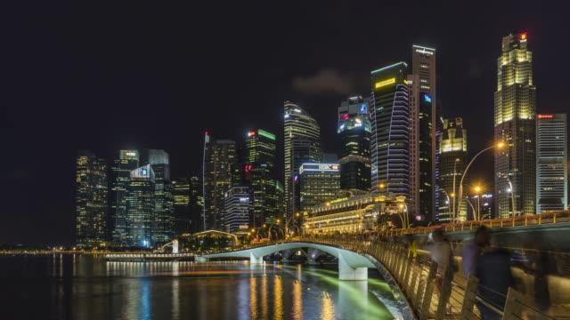 Time-lapse-Singapore-skyline-at-night-with-urban-modern-buildings