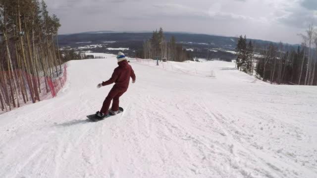 Follow-Shot-of-a-Female-Snowboarder