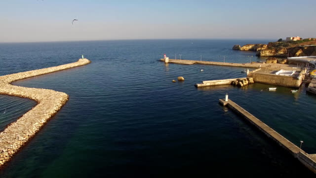 Seagulls-over-harbour-and-fort-of-Lagos,-Algarve,-Portugal-aerial-view
