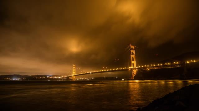 Puente-Golden-Gate-de-noche,-desde-abajo