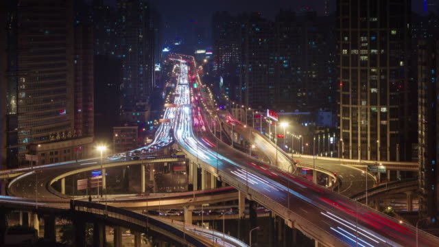 night-light-high-traffic-city-road-4k-time-lapse-from-shanghai-roof