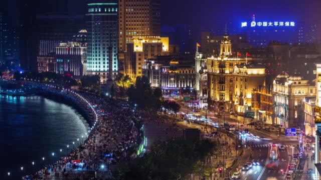 color-luz-poca-Bahía-4k-de-la-noche-lapso-de-shanghai-azotea-de-ciudad