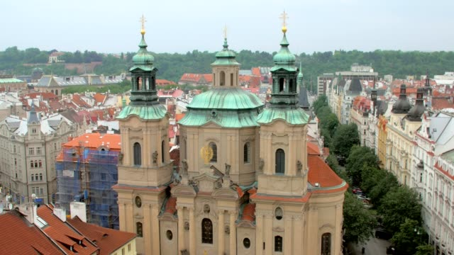 top-view-of-Church-of-Saint-Nicholas-in-Prague-from-Old-clock-tower