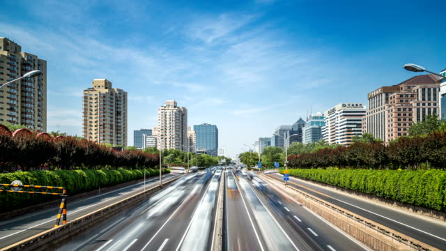 Time-lapse-of-busy-traffic-and-modern-buildings-in-Beijing-city-China-