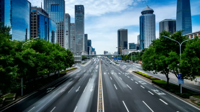 Time-lapse-of-busy-traffic-and-modern-buildings-in-Beijing-city-,-China.