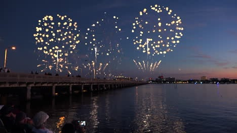 A-fireworks-display-over-water-marks-a-big-holiday