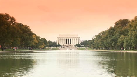 A-long-shot-of-the-Lincoln-Memorial-across-the-reflecting-pool-with-ducks-swimming-past-2