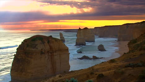 Establishing-shot-of-the-12-Apostle-rock-formations-along-the-Great-Ocean-Road-of-Victoria-Australia-1