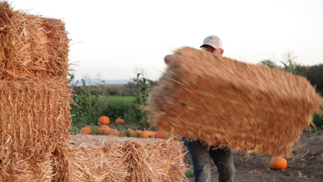A-handsome-farmer-picks-up-and-stacks-bales-of-hay