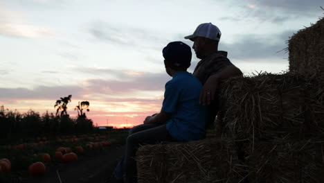 A-father-and-son-sit-in-a-farm-field-at-sunset-4