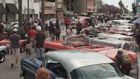 High-angle-of-a-classic-car-show-in-a-California-town-1