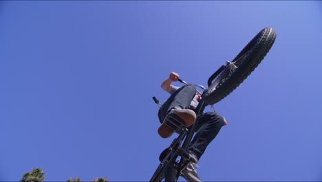 Low-angle-view-of-a-BMX-bike-rider-executing-a-jump-at-a-skatepark-2