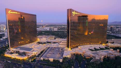 Aerial-view-of-the-Encore-and-Wynn-hotels-in-Las-Vegas-Nevada