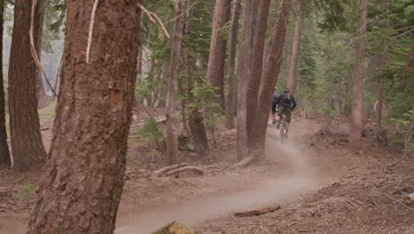 Two-mountain-bikers-race-on-a-path-through-a-forest-1