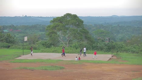 African-people-play-basketball-on-a-remote-court-in-the-jungle