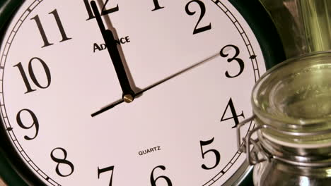 A-second-hand-moves-counterclockwise-as-minute-and-hour-hands-rapidly-mark-time-on-a-clock-face