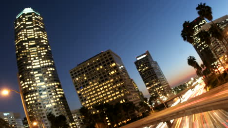 Timelapse-of-traffic-moving-fast-on-a-highway-near-downtown-Los-Angeles