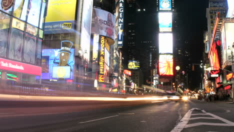 Shot-slowly-pans-right-in-an-accelerated-look-of-the-frenzy-of-flashing-and-streaking-lights-in-New-York-s-Times-Square