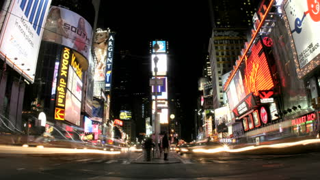 An-accelerated-shot-of-New-York\-s-Times-Square-results-in-a-frenzy-of-flashing-lights